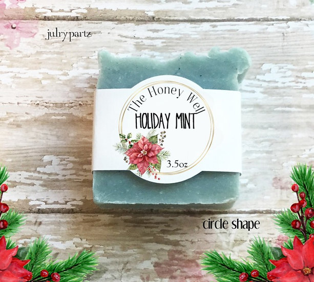"""36•CIRCLE """"HOLIDAY MINT"""" SOAP Labels•Soap Packaging•Bar Soap Label•"""