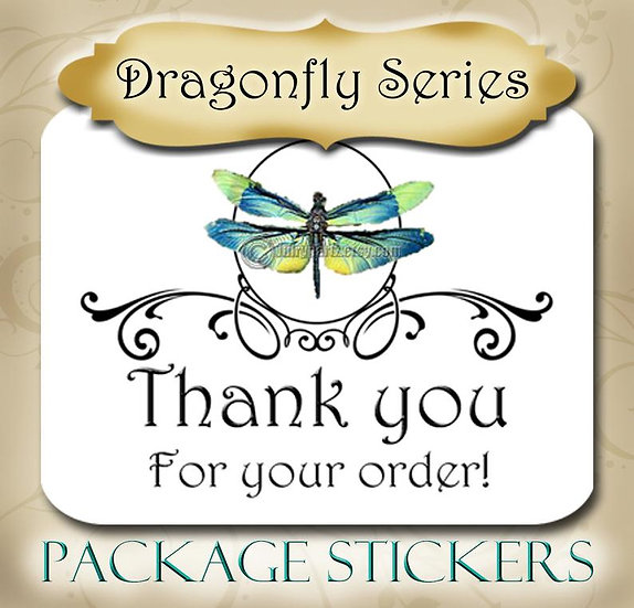 30•DRAGONFLY Series•STICKERS•Rectangle Labels•Package Labels