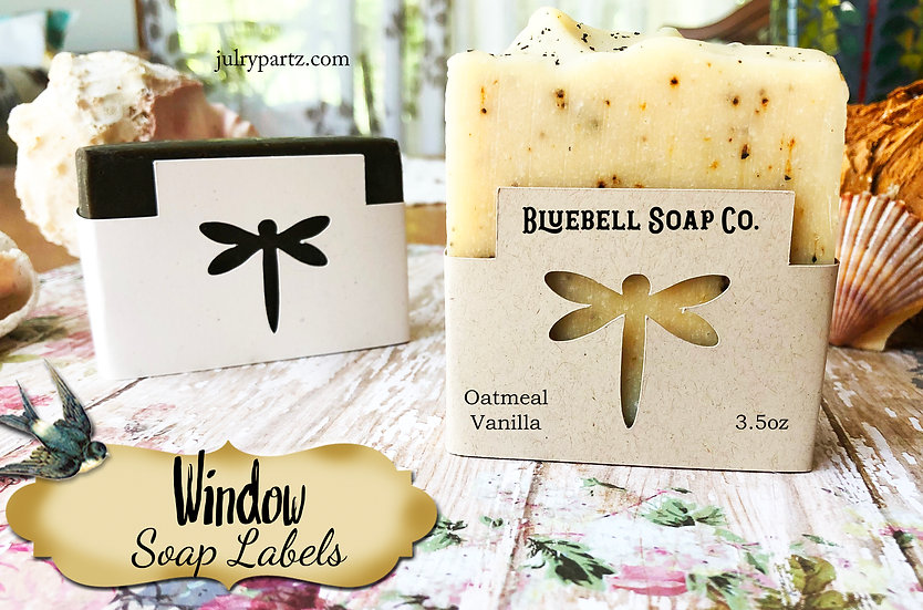 36•DRAGONFLY WINDOW Custom SOAP Labels•Soap Packaging•Bar Soap Label•