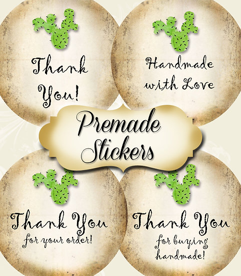 PREMADE •60 Custom 1.5 x 1.5 Round STICKERS•Round Labels•CACTUS 1