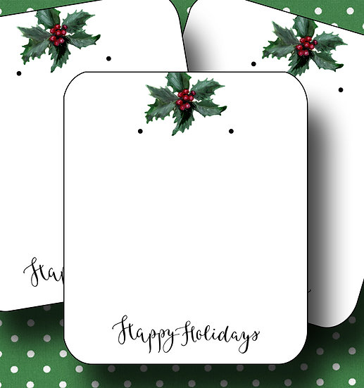 HOLIDAY•Earring Cards•Holiday Tags•Holiday Labels•HOLLY 1