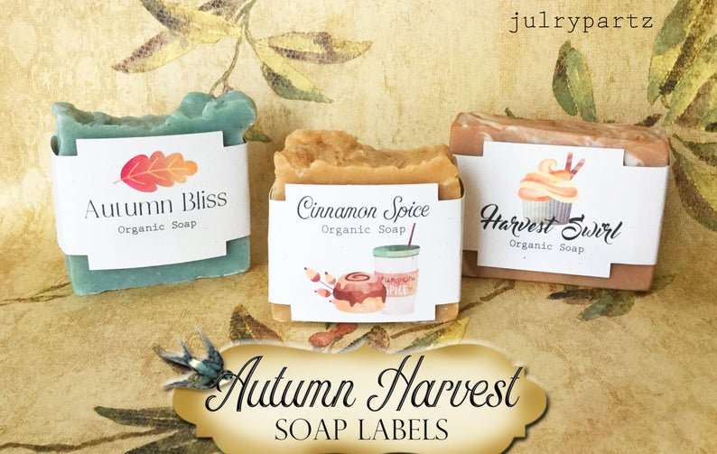 "36•SQUARE ""Harvest"" SOAP Labels•Soap Packaging•Bar Soap Label"