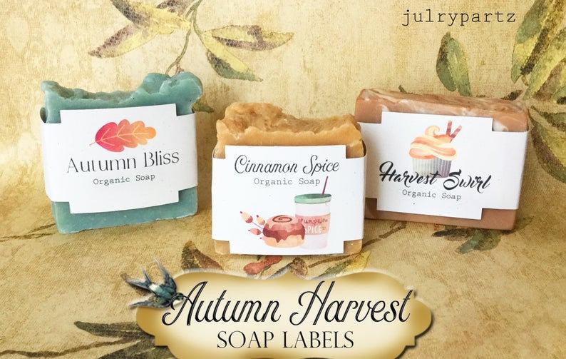"""36•SQUARE """"Harvest"""" SOAP Labels•Soap Packaging•Bar Soap Label"""