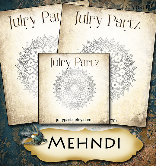 MEHNDI #2•Custom Cards•Labels•Earring Display•Clothing Tags