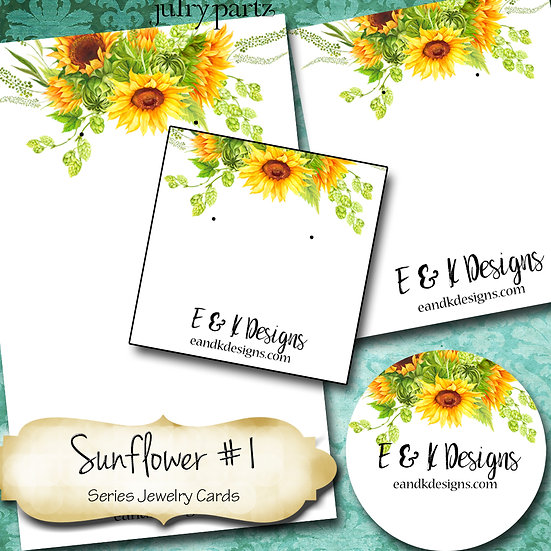 SUNFLOWER 1•Custom Cards•Labels•Earring Display•Clothing Tags