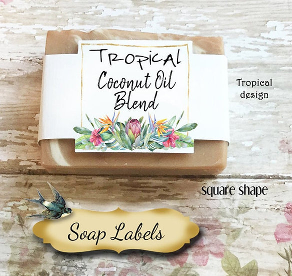 "36•SQUARE ""Tropical #2""Custom SOAP Labels•Soap Packaging•Bar Soap Label"