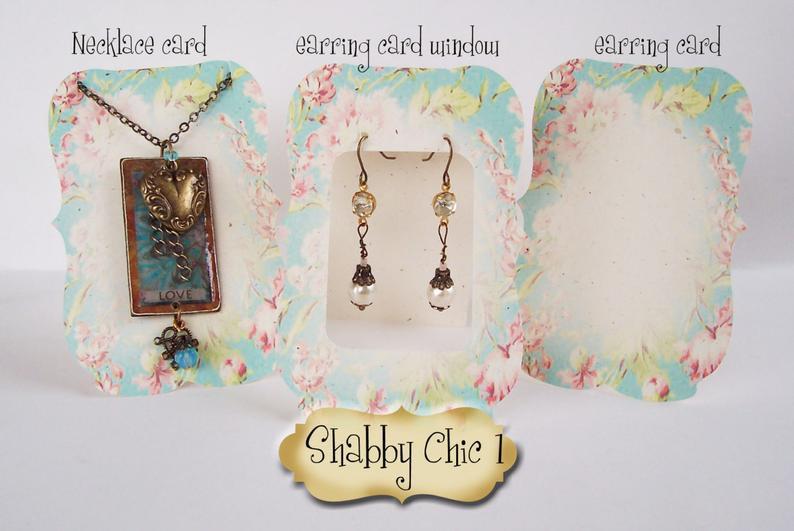 36•ZOE•SHABBY #1•Tent Cards•EARRING CARDS•Jewelry Cards•Earrin