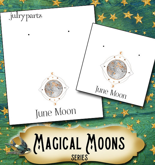 JUNE MOON•Custom Cards•Labels•Earring Display•Clothing Tags