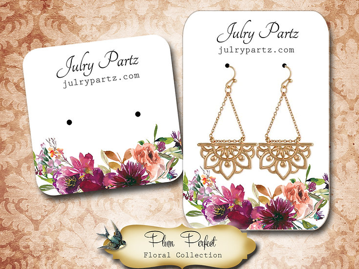 PLUM PERFECT •Necklace Card• Earring Cards •Jewelry Cards •Display CAR