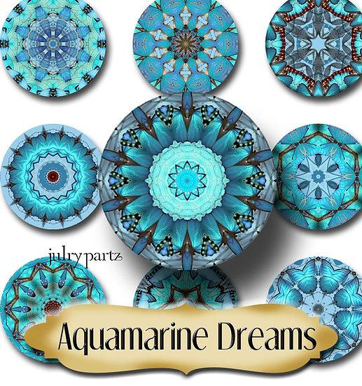 AQUAMARINE DREAMS •1x1 Circle Images•Printable Digital Images•Mandala