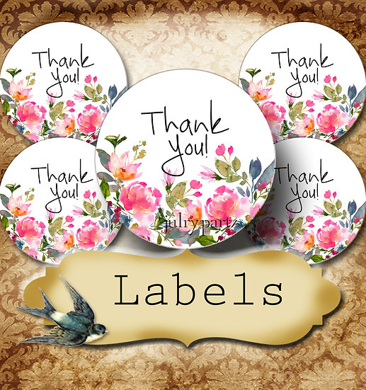 PREMADE •60 Custom 1.5 x 1.5 Round STICKERS•Round Labels•WATERCOLOR FLORAL 2