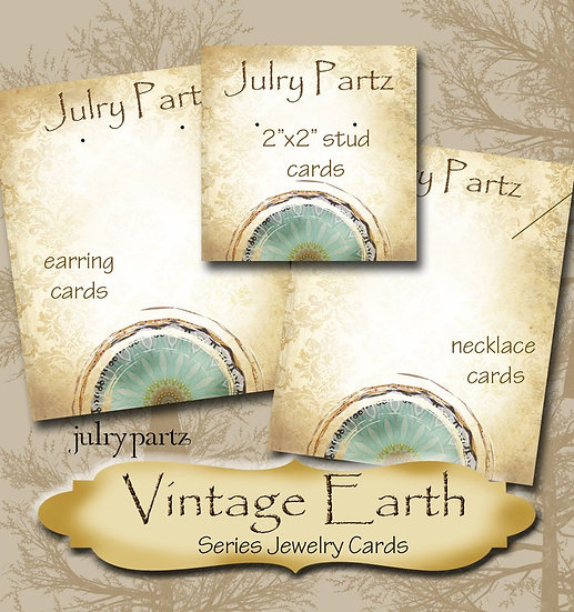 VINTAGE EARTH #1•Custom Cards•Labels•Earring Display•Clothing Tags