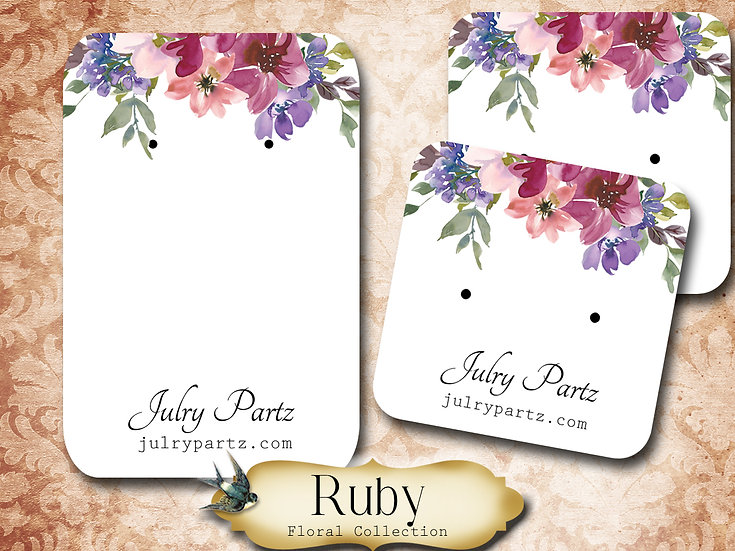 RUBY •Necklace Card• Earring Cards •Jewelry Cards •Display CAR