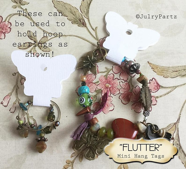 36•3.5L x 2W•FLUTTER•Butterfly Hang Tag•NECKLACE HOLDERS•Fold Over Tags•Hang Tag