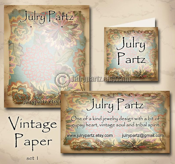 VINTAGE PAPER #1•Custom Cards•Labels•Earring Display•Clothing Tags