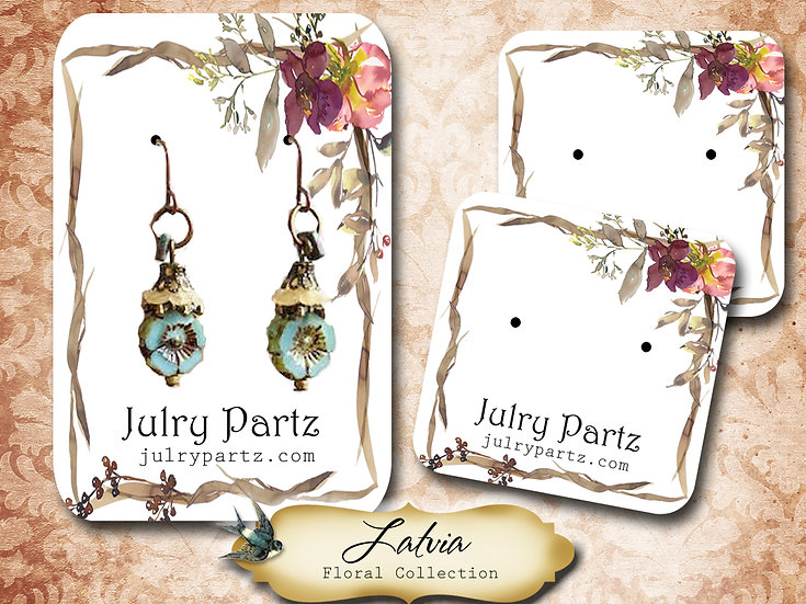 LATVIA •Necklace Card• Earring Cards •Jewelry Cards •Display CARD