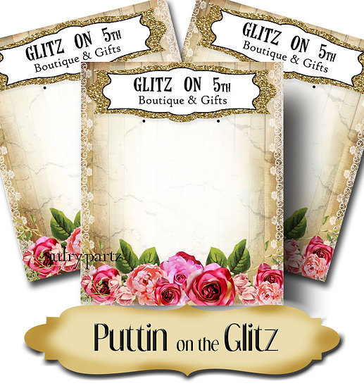 PUTTIN ON THE GLITZ•Custom Cards•Labels•Earring Display•Clothing Tags