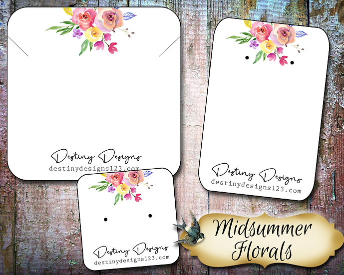 MIDSUMMER FLORAL•Necklace Card•Earring Cards•Jewelry Cards•Display Car