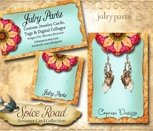 SPICE ROAD #3•Custom Cards•Labels•Earring Display•Clothing Tags