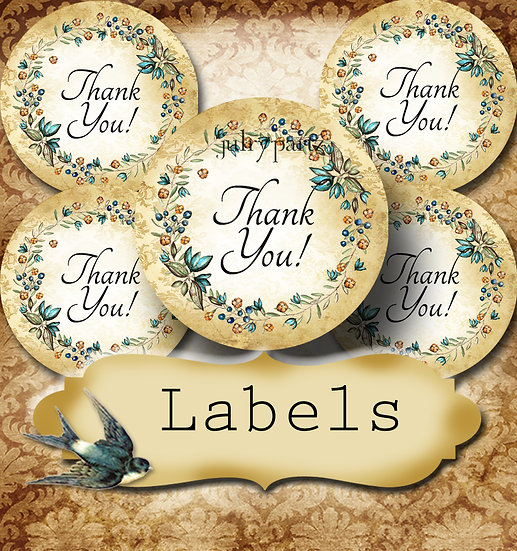 PREMADE •60 Custom 1.5 x 1.5 Round STICKERS•Round Labels•RUSTIC WREATH