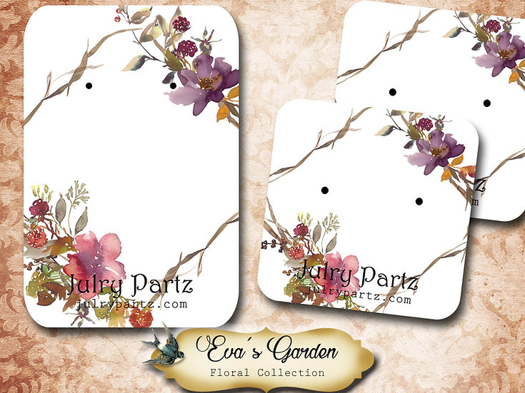 EVA'S GARDEN •Necklace Card• Earring Cards •Jewelry Cards •Display CAR