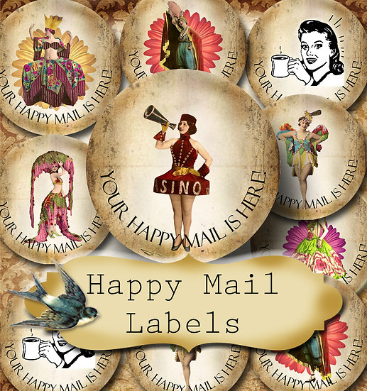 Happy Mail •60 Custom 1.5 x 1.5 Round STICKERS•Package Labels•FANCY GIRLS