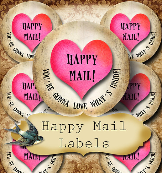 Happy Mail •60 Custom 1.5 x 1.5 Round STICKERS•Package Labels•PINK HEART