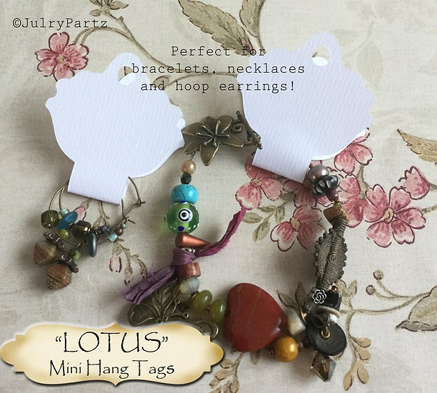 36•4.25L x 2W•LOTUS•Hang Tags•NECKLACE HOLDERS•Fold Over Tags•