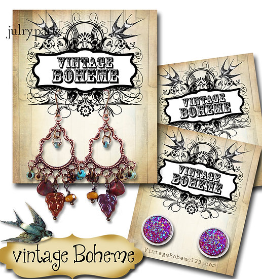 VINTAGE BOHEME•Custom Cards•Labels•Earring Display•Clothing Tags