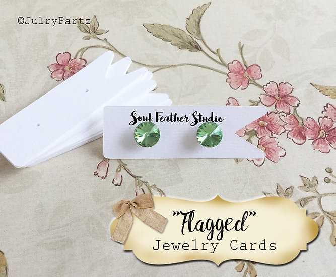 42 FLAGGED 1 X 3•EARRING Cards•Jewelry Card•Post Earring Card•STUD