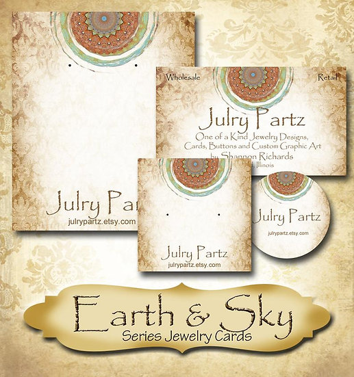 EARTH & SKY #2•Custom Cards•Labels•Earring Display•Clothing Tags