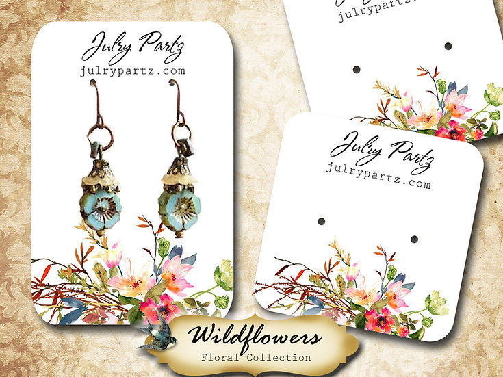 WILDFLOWERS •Necklace Card• Earring Cards •Jewelry Cards •Display Card