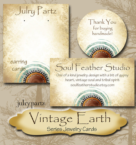 VINTAGE EARTH #2•Custom Cards•Labels•Earring Display•Clothing Tags
