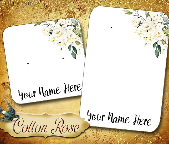 COTTON ROSE 1•Necklace Card•Earring Cards•Jewelry Cards•Display Card
