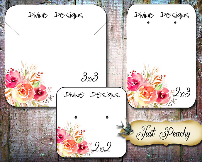 60•JUST PEACHY #1•Necklace Card•Earring Cards•Jewelry Cards•Display Car