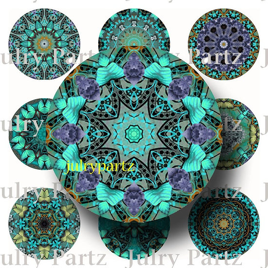 MIDNIGHT GLOW •1x1 Circle Images•Printable Digital Images•Mandala
