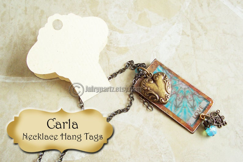 "64•CARLA•Hang Tags •2x3•Hang tags•2x5""•NECKLACE HOLDERS•Fold Over Tags•Ha"