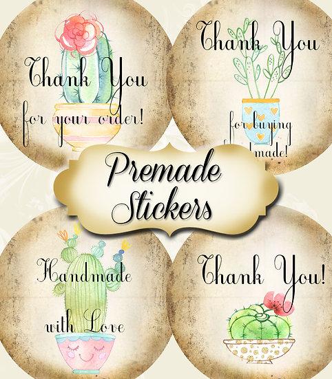 PREMADE •60 Custom 1.5 x 1.5 Round STICKERS•Round Labels•FUN CACTUS #1