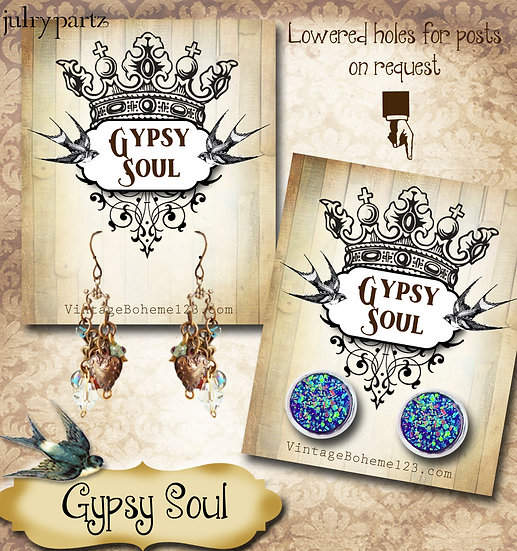 GYPSY SOUL•Custom Cards•Labels•Earring Display•Clothing Tags
