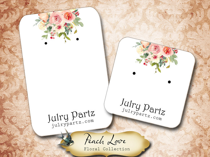 PEACH LOVE •Necklace Card• Earring Cards •Jewelry Cards •Display CARD