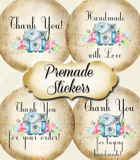PREMADE •60 Custom 1.5 x 1.5 Round STICKERS•Round Labels•CAMERA 1