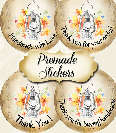 PREMADE •60 Custom 1.5 x 1.5 Round STICKERS•Round Labels•MAGIC LAMP #1