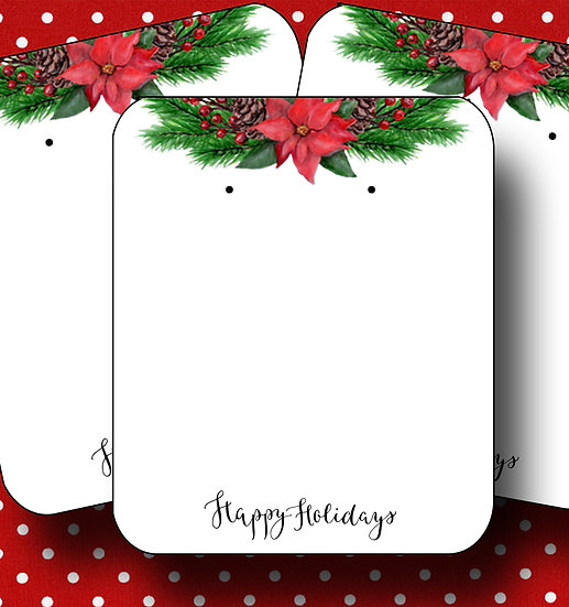 HOLIDAY•Earring Cards•Holiday Tags•Holiday Labels•POINSETTA 2