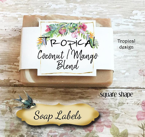 "36•SQUARE ""Tropical #3""Custom SOAP Labels•Soap Packaging•Bar Soap Label"