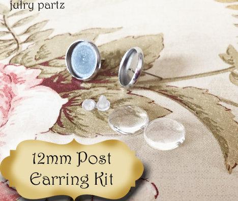 12mm Stainless Steal Stud Set•Post Earring Kit