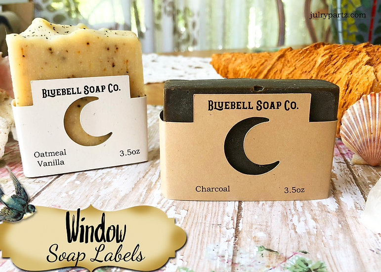 36•MOON WINDOW Custom SOAP Labels•Soap Packaging•Bar Soap Label•