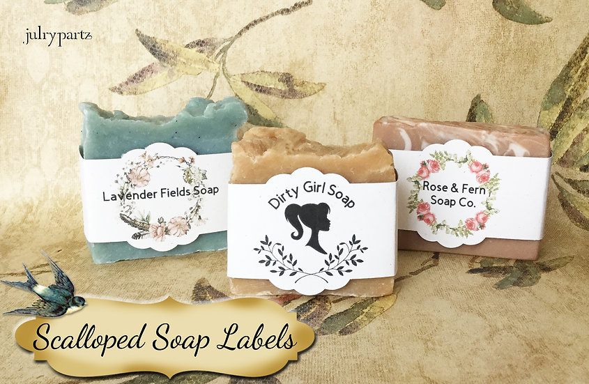 36•SCALLOP Custom SOAP Labels•Soap Packaging•Bar Soap Label•