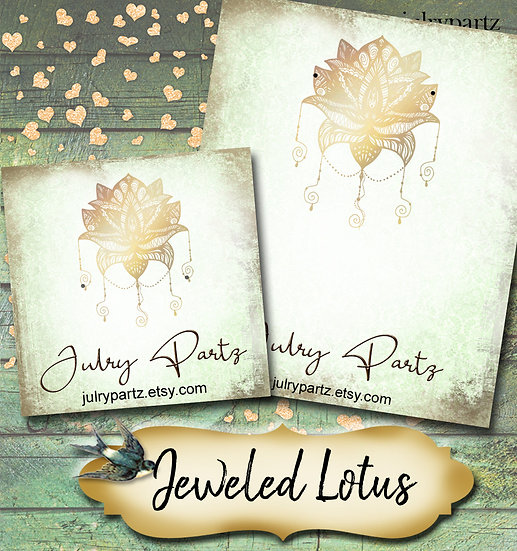 JEWELED LOTUS•Custom Cards•Labels•Earring Display•Clothing Tags
