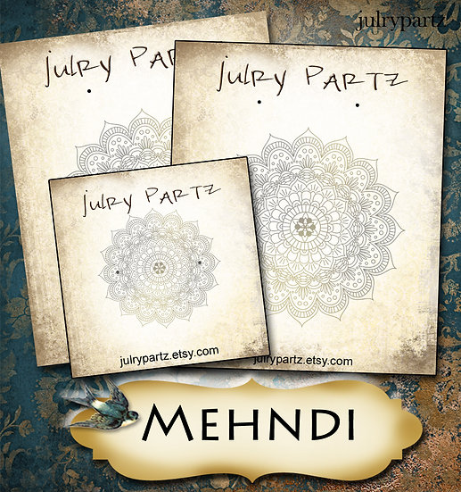 MEHNDI #3•Custom Cards•Labels•Earring Display•Clothing Tags