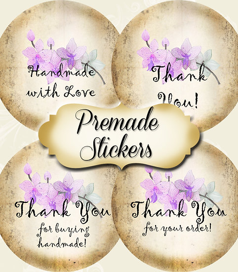 PREMADE •60 Custom 1.5 x 1.5 Round STICKERS•Round Labels•LILAC ORCHID